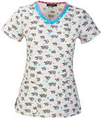 HeartSoul Womens Let's Skate V-Neck Scrub Top