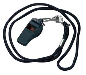 Black Plastic Whistle w/ Lanyard