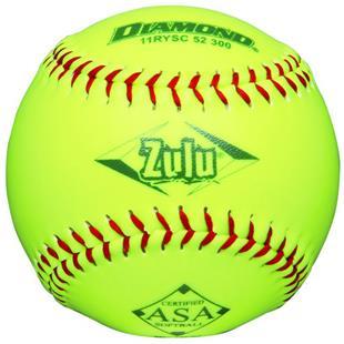 """Diamond Zulu Red Stitch 11"""" Slowpitch Softball"""