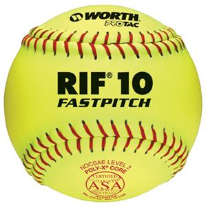 "Worth 12"" RIF 10 ASA ProTac Fastpitch Softballs CO"