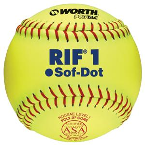 "Worth 11"" RIF 1 Sof-Dot ASA Fastpitch Softballs EA"