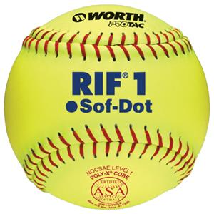 Worth 10&quot; RIF 1 Sof-Dot ASA Fastpitch Softballs