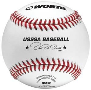 "Worth 9"" USSSA Pro Alum Leather Baseballs"