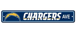 NFL Los Angeles Chargers Plastic Street Sign