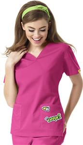 I Love WonderWink Womens V-Neck Scrub Top