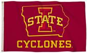 Collegiate Iowa State 3'x5' Flag w/State Outline