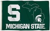 Collegiate Michigan St. 3'x5' Flag w/State Outline