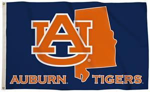 Collegiate Auburn 3'x5' Flag w/State Outline