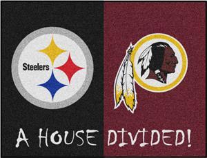 Fan Mats NFL Steelers/Redskins House Divided Mat