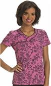 HeartSoul Womens Ace Of Lace Mock Wrap Scrub Top