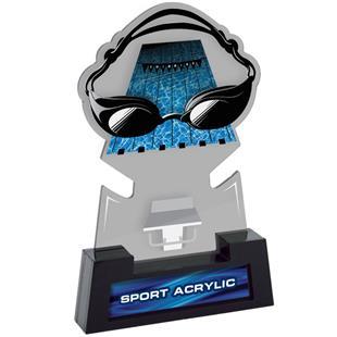 "7"" Sport Smoked TRUacrylic Swimming Trophy"