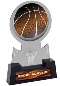 "7"" Sport Smoked TRUacrylic Basketball Trophy"