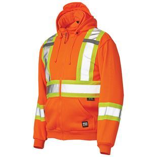 Work King Unlined Zip Front Safety Fleece Hoodie