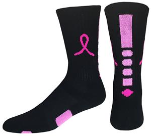 Breast Cancer Black Pink Ribbon Hero Crew Socks