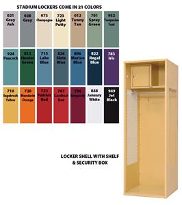 Steel Stadium Gym Lockers Shelf & Security Box