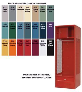 Steel Stadium Gym Locker Shelf, Sec Box Footlocker