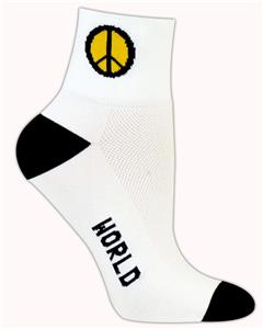 Red Lion World Peace Symbol 1/4 Crew Athletic Sock