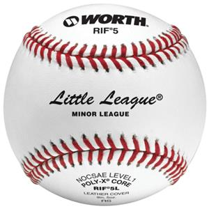 "Worth 9"" RIF 5 Little League Leather Baseballs"