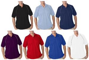 Blue Generation SS Piped Trim Wicking Polo Shirts