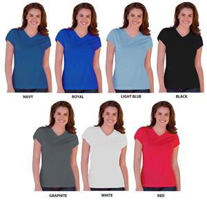 Blue Generation Ladies SS Wicking V-Neck T-Shirts
