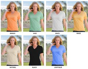 Ladies V Neck UV Resistant Bamboo Tee Shirt