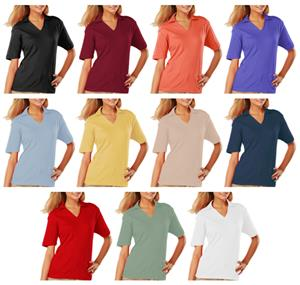 Blue Generation Ladies SS V-Neck Pima Polo Shirts
