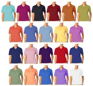 Blue Generation Ladies SS V-Neck Pique Polo Shirts