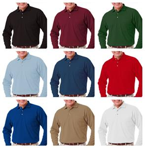 Blue Generation Pocketed LS Pique Polo Shirts