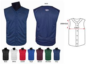 Fabnit Button Mesh Sleeveless Baseball Jerseys