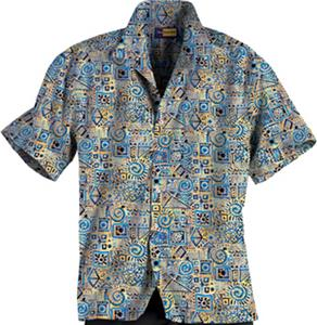 Blue Generation Adult Batik Tropical Camp Shirts