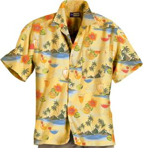 Blue Generation Adult Cocktail Print Camp Shirts