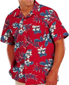 Blue Generation Adult Hibiscus Print Camp Shirts