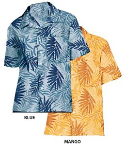 Blue Generation Adult Tonal Print Camp Shirts