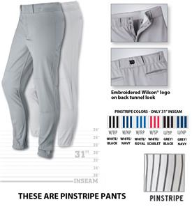 "Pro T3 Premium Pinstripe Baseball Pants 31"" Inseam"
