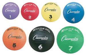 Champion Sports Yellow Rubber Medicine Balls C/O