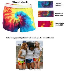 "Soffe Spiral Tye Dyed Athletic Shorts 3"" Inseam"