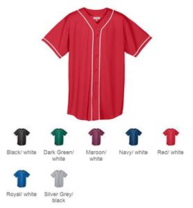 Augusta Mesh Button Front Braid Trim Jerseys