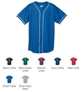 Augusta Youth Mesh Button Front Baseball Jersey