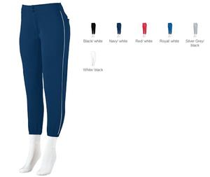 Augusta Girls' Low-Rise Softball Pant with Piping