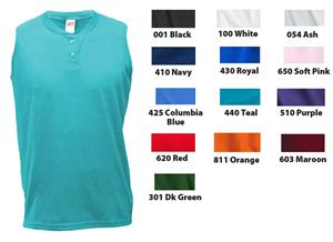 Soffe Cotton/Poly Sleeveless Softball Henley Shirt