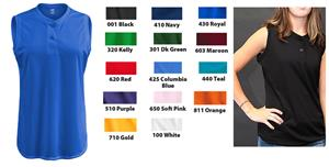 Soffe Dri Sleeveless Softball Henley Shirt
