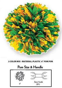 2 Color Mix Plastic Cheerleaders Poms