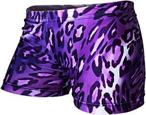 Gem Gear Compression Purple Leopard Shorts