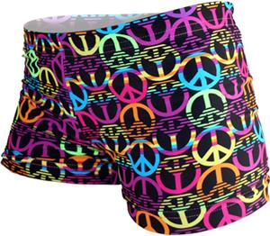 Gem Gear Compression Black Neon Peace Signs Shorts