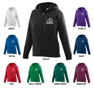 Wicking Fleece Full Zip Girls Hooded Sweatshirt