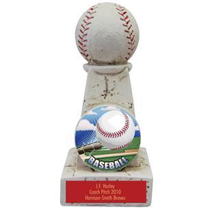 "Hasty Awards 6"" Baseball Stone Tower Award  Trophy"