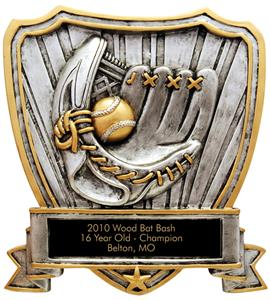 Hasty Award Baseball Shield Resin Trophy RESIN-SHC