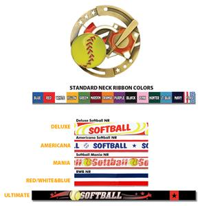 Hasty Awards Softball Color Medals M-545O