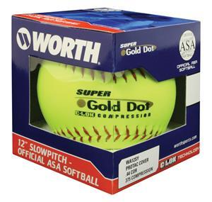 "12"" ASA Super Gold Dot Pro Tac Yellow Softballs"