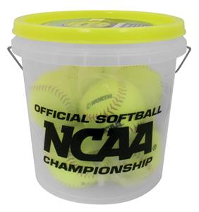 Worth NCAA 3 Gallon Bucket of NC12BB Softballs